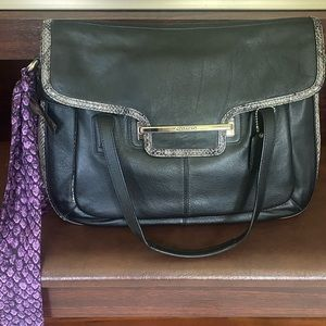 Coach Leather Satchel with Grey Snakeskin Detail